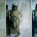 Detail vor, während und nach der Restaurierung