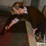 Konservierung der Farbschicht mit Störleim
