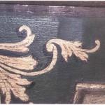 Grünes Gewölbe im Dresdner Residenzschloss, barocke Malerei der Paneele, Wand P9 Referenzrestaurierung, Detailaufnahme, 1985