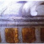 Goldledertapeten des Monströsensaales, Schloss Moritzburg, Details nach der Schließung der Risse